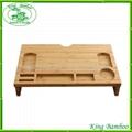 Multi-function bamboo office desk organizer