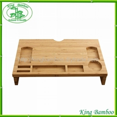 Multi-function bamboo office desk organizer