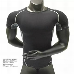 compression fitness tight top men T shirt mens athletic clothing active wear