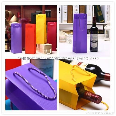 Fancy Waterproof Hexagonal Pattern Wine Gift Promotion Bag PP Plastic Jute Bag  1