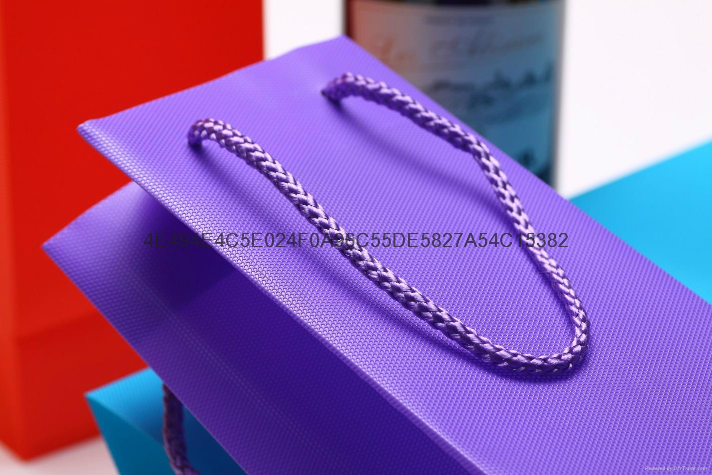 Fancy Waterproof Hexagonal Pattern Wine Gift Promotion Bag PP Plastic Jute Bag  5