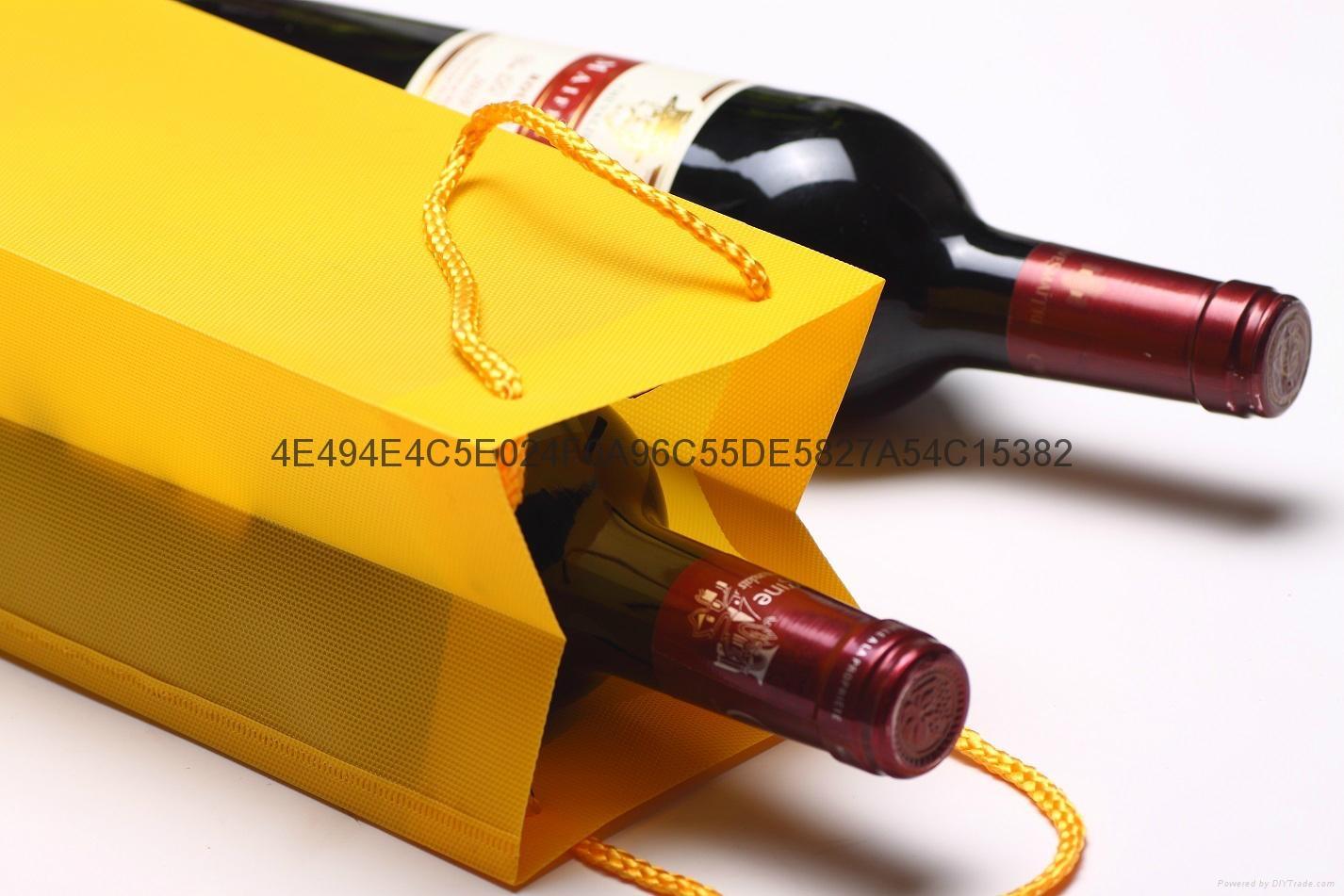 Fancy Waterproof Hexagonal Pattern Wine Gift Promotion Bag PP Plastic Jute Bag  4