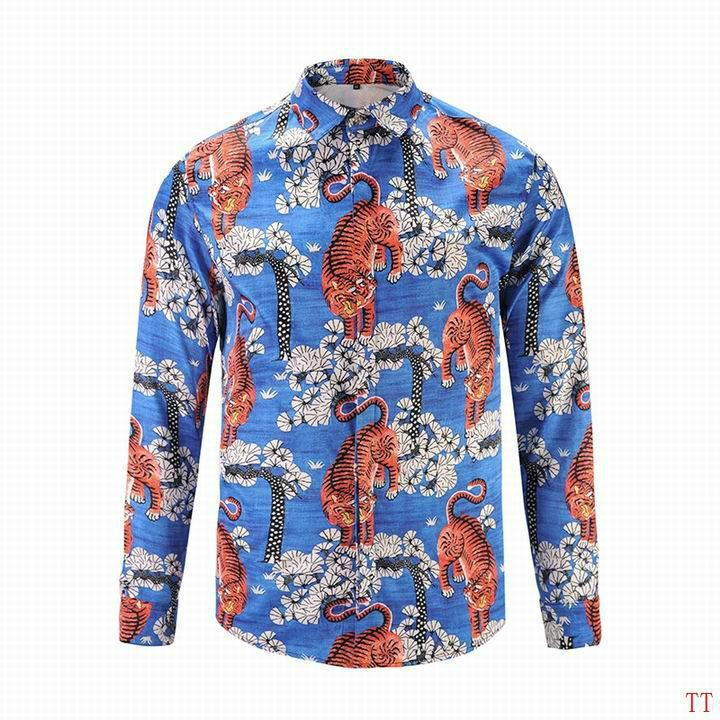 Wholesale Gucci Tiger Print Men's Dress Slim Shirt Men casual shirts 1:1 qualit  8