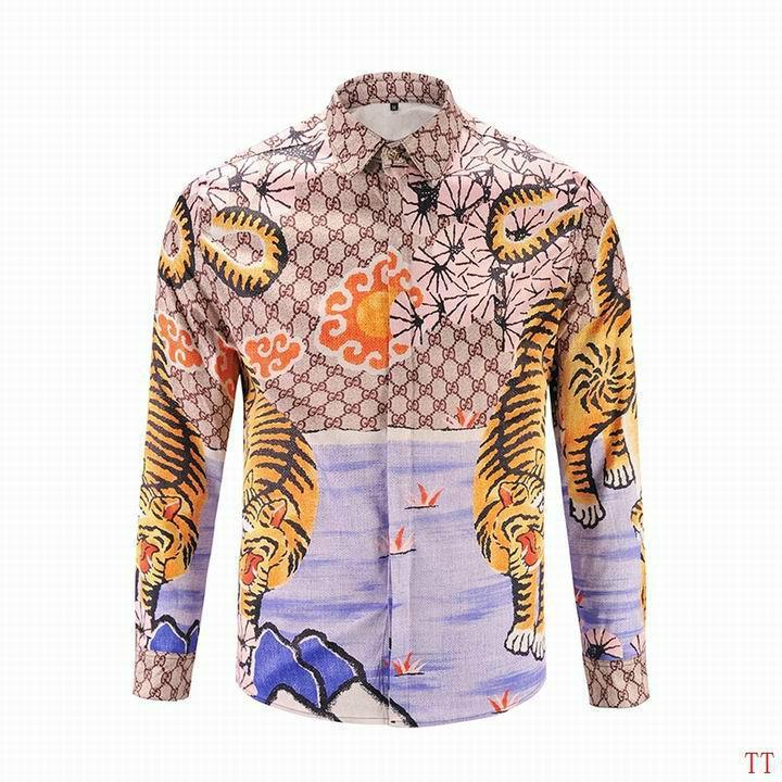 Wholesale Gucci Tiger Print Men's Dress Slim Shirt Men casual shirts 1:1 qualit  9
