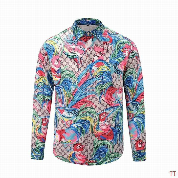 Wholesale Gucci Tiger Print Men's Dress Slim Shirt Men casual shirts 1:1 qualit  10