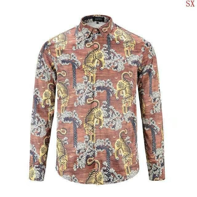 Wholesale Gucci Tiger Print Men's Dress Slim Shirt Men casual shirts 1:1 qualit  11