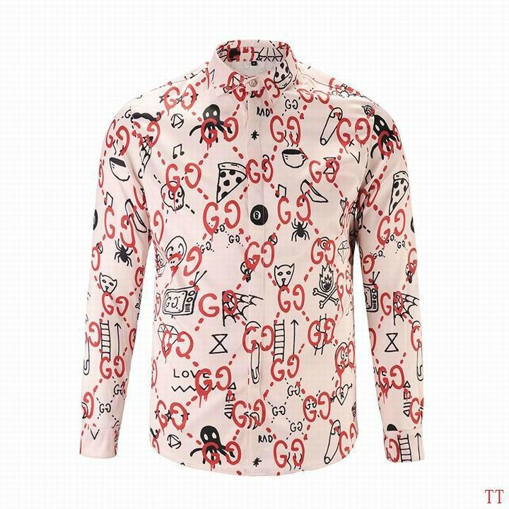 Wholesale Gucci Tiger Print Men's Dress Slim Shirt Men casual shirts 1:1 qualit  13