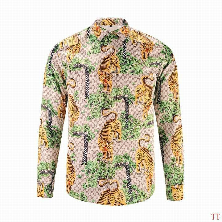 Wholesale Gucci Tiger Print Men's Dress Slim Shirt Men casual shirts 1:1 qualit  15