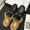 Gucci Slides Gucci Men women Leather Slipper FUR SLIPPER MULE LOAFER SHOES