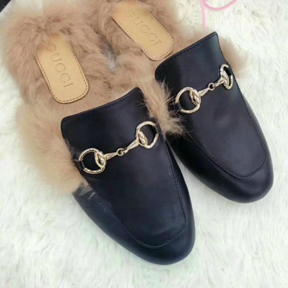 Gucci Slides Gucci Men women Leather Slipper FUR SLIPPER MULE LOAFER SHOES 2