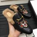 Gucci Slides Gucci Men women Leather Slipper FUR SLIPPER MULE LOAFER SHOES 4