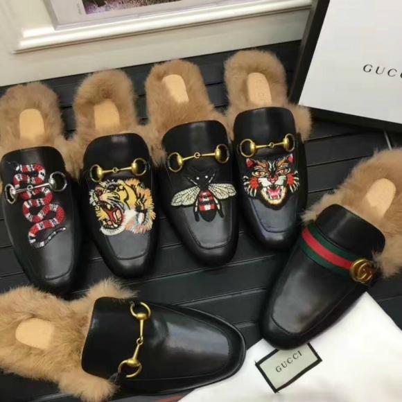 Gucci Slides Gucci Men women Leather Slipper FUR SLIPPER MULE LOAFER SHOES 5