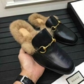 Gucci Slides Gucci Men women Leather Slipper FUR SLIPPER MULE LOAFER SHOES 6
