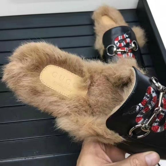 Gucci Slides Gucci Men women Leather Slipper FUR SLIPPER MULE LOAFER SHOES 9