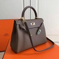 Hermes kelly bags Leather shouder bag Sellier Hardware Fuchsia Women tote bags