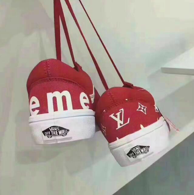 aa8eaab3c6f7 ... Wholesale Supreme x Louis Vuitton Vans Casual Lace Up shoes Women  sneaker shoes ...