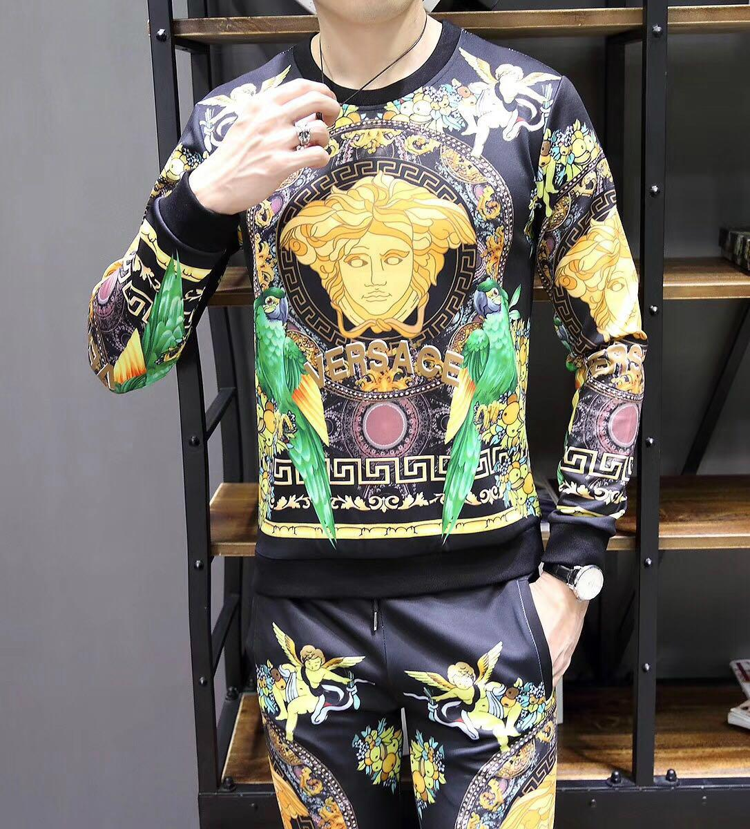 New! Versace tracksuit Hoodie Black Gold Baroque Print pant Zip Hoody multicolor 1
