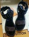 LV WOMEN NOMAD SANDAL Black Gold Gladiator Flat Shoes