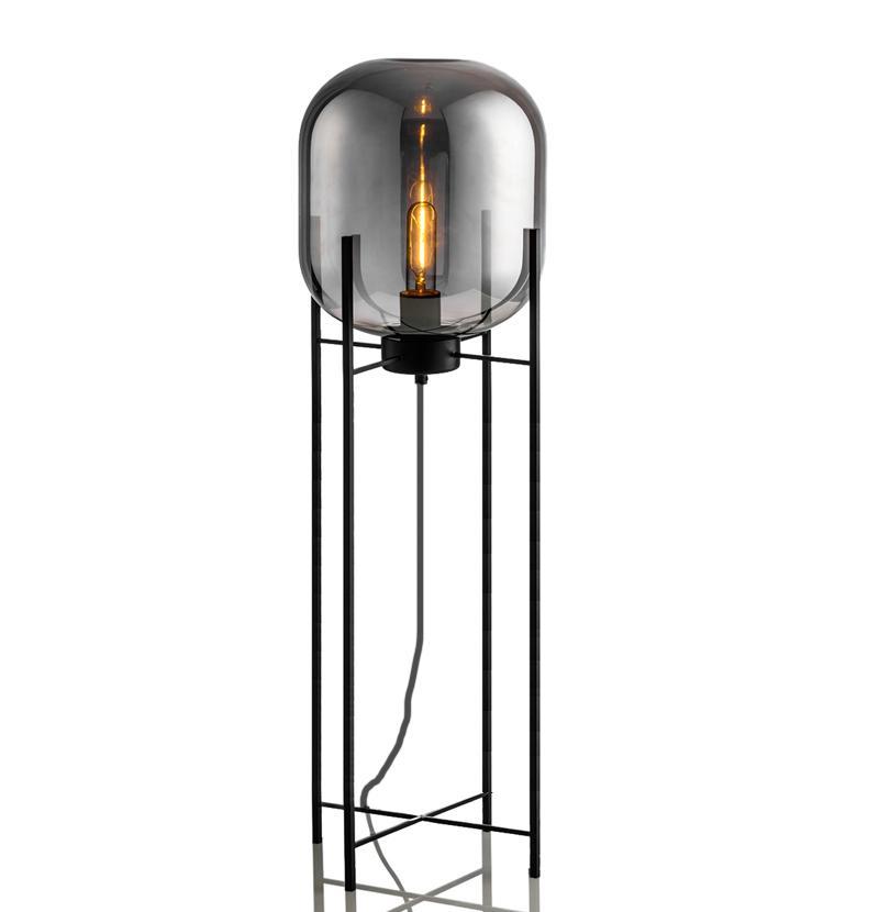 Glass Floor Lamp with handblown Glass Shade 1