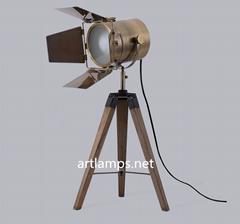 廠家直銷復古風木製書房臥室床頭臺燈創意攝影燈客廳燈具三腳臺燈