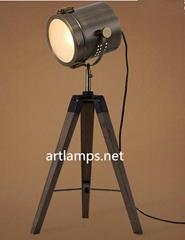 復古風木製書房臥室床頭臺燈創意攝影燈客廳燈具三腳臺燈
