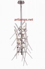 水晶玻璃棒吊燈創意歐式玻璃客廳吊燈水晶玻璃吊燈
