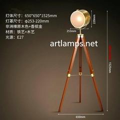 三脚测绘架美式乡村欧式复古LED灯客厅北欧实木探照灯木质落地灯