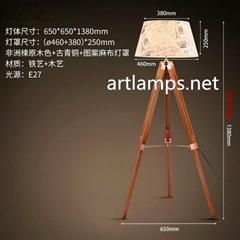 三腳架美式鄉村歐式復古LED燈客廳北歐實木探照燈木質落地燈