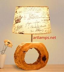 家居北欧装饰台灯木艺台灯木质卧室台灯创意台灯