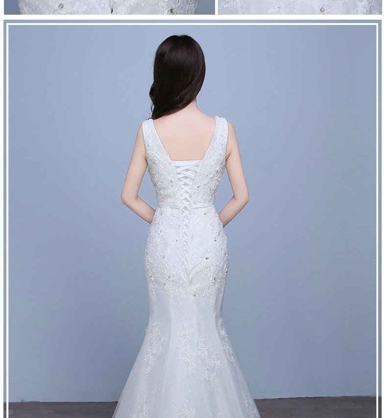 classic Floor Length Spaghetti sleeveless appliqued and beaded mermaid Wedding D 2