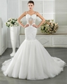 classic Floor Length Spaghetti sleeveless appliqued and beaded mermaid Wedding D 3