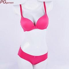 Women smooth T-shirt cup bra set sexy hot designer fancy bra panty set photo pus
