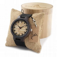 Hot In Stock Wood Watch With Custom Engraving Brown Leather Quartz Clock OEM wat