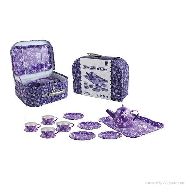Chinese mini tea set toys (TIN TEAPOT SET) 3