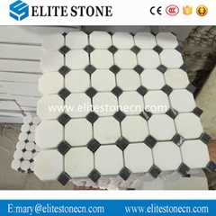 Thassos White 2 inch Octagon Mosaic Tile with Black Dots Polished - Marble from