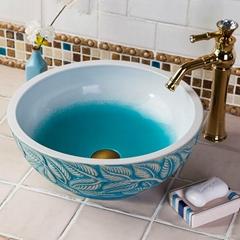Restaurant Luxury Handmade European Style Kitchen Ceramic Countertop Wash Basin