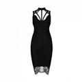 Black Round Neck Sleeveless Knee Length Lace Matching Sexy Bandage Dress
