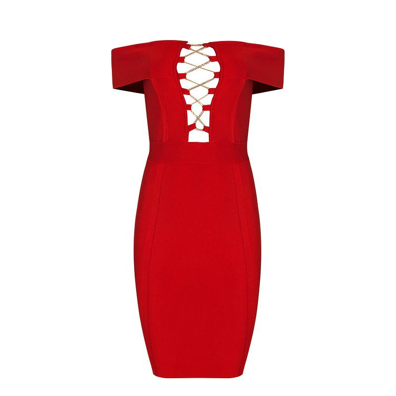 Red Off-Shoulder Cut-out Bandage Dress Party Dress 2