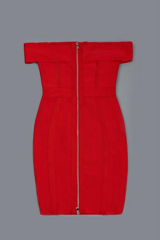 Red Off-Shoulder Cut-out Bandage Dress Party Dress 8