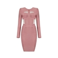 Pink Long Sleeves Fashion Bandage Dress with Mesh Details