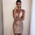 Apricot V neck Bandage Dress Club Dress