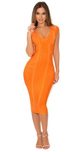 Straps Open Back Midi Bandage Dress