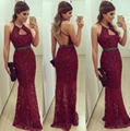 Stylish Open Back Halter Lace Maxi Dress