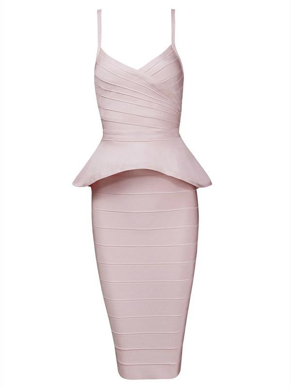 Straps Bandage Dress Two Pieces Ruffled Party Dress 2