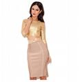 Long Sleeves Golden Bandage Dress Formal