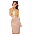 Long Sleeves Golden Bandage Dress Formal Dress