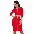 Long Sleeves Red Bandage Dress Fashion