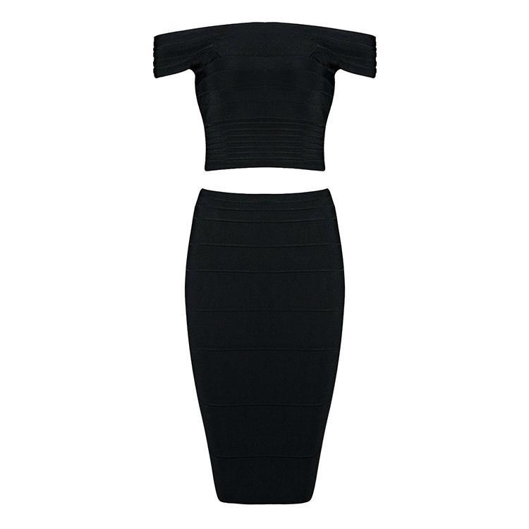 Two Pieces Off Shoulder Designer Party Dress 3