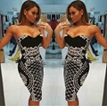 Black Printed Bandage Dress Two Pieces