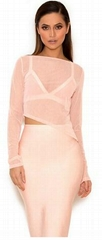 Sexy Bandage Dress with Mesh Cover Club